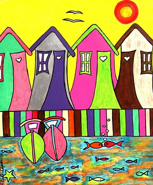 Peinture Acrylique 55X46 Bassin D'Arcachon De Pascale Capdeville