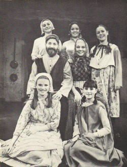 Production still from the West End production in 1968, with Alfie Bass as Tevye and Hy Hazell as Golde