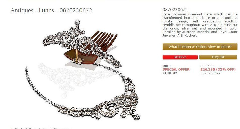 From Lunns Antiques a floral diamond tiara necklace bination