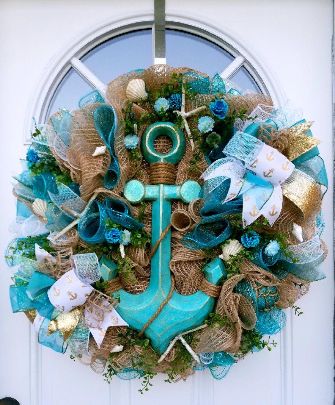 Anchor sign Lake decor Nautical decor. Ocean wreath Nautical wreath Beach theme wreath Sea shore wreath Anchor front door wreath