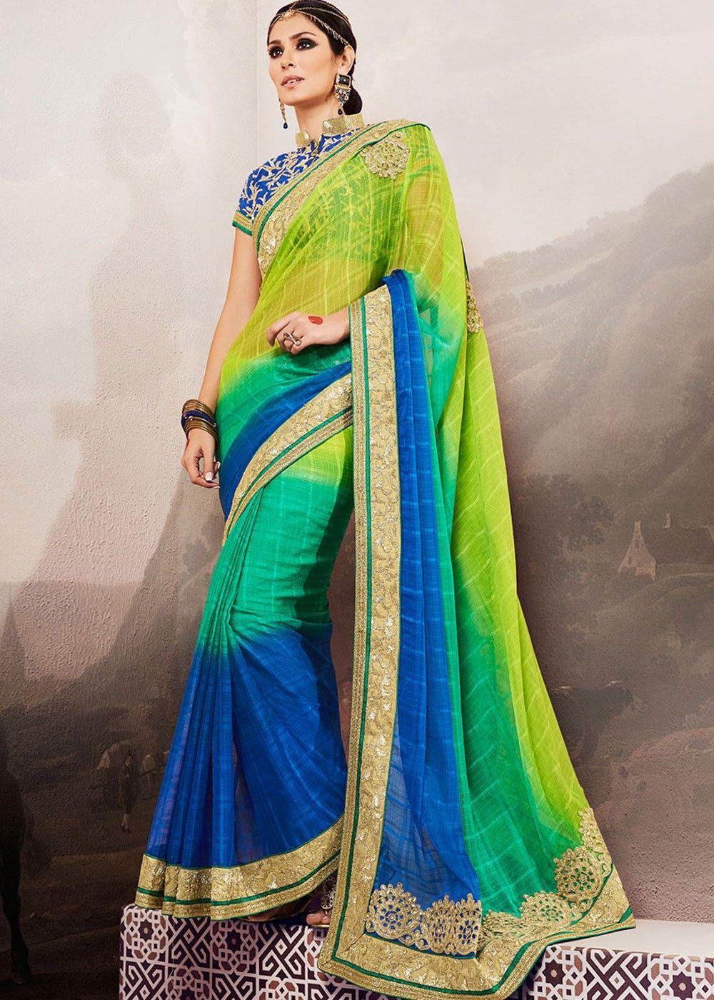Bruna Laila bruna abdullah shaded green and blue chiffon brasso saree