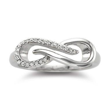 Fine Jewelry Infinity Promise 1/10 CT. T.W. Diamond Two-Tone Infinity Ring Y4pKpjJ0zq