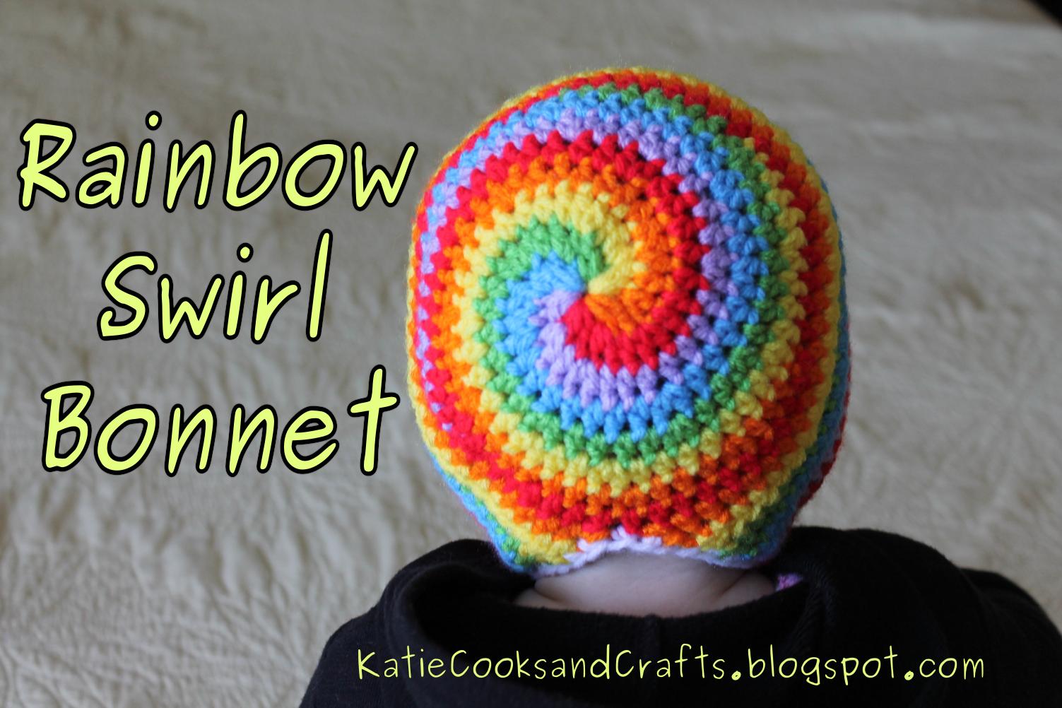 Katie Cooks and Crafts: Rainbow Swirl Bonnet. ☀CQ #crochet #apparel ...