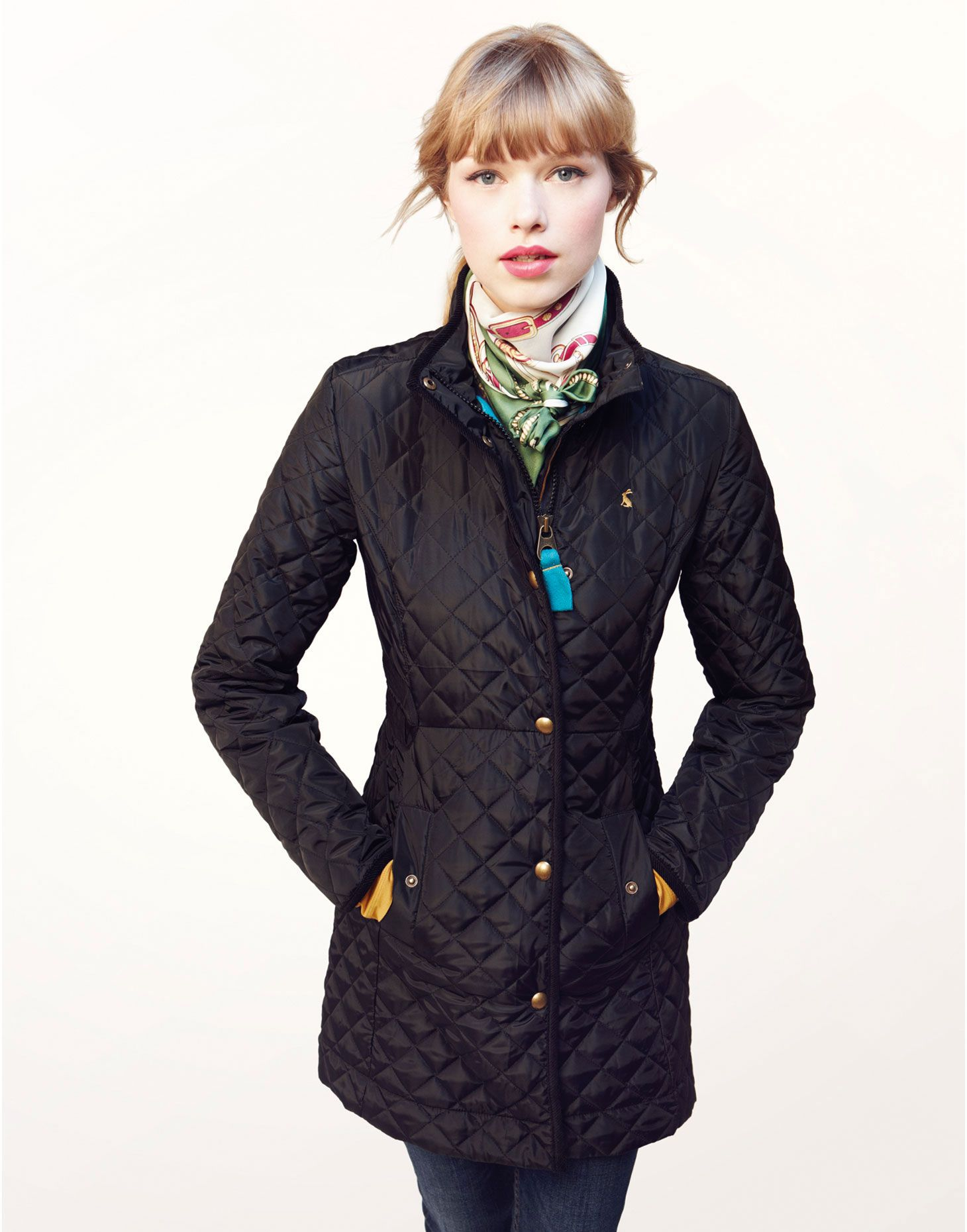 FAIRHURST Womens Lightweight Three Quarter Length Quilted Jacket ...