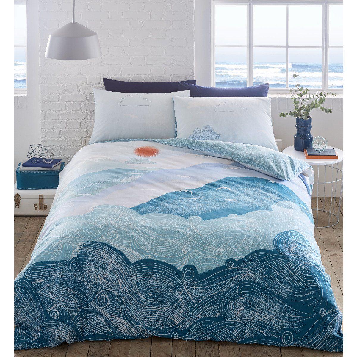 Nami Wave Blue Bedding Set Sleepdown Official Uk Duvet Cover Sets Bedding Linen In 2020 Blue Bedding Sets Blue Bedding Single Bedding Sets