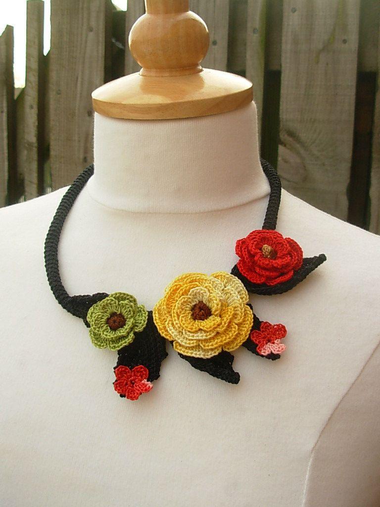 Crochet bright flower necklace choker floral by FlowersbyIrene www.etsy.com