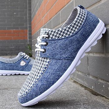 Would you rock these checkered denim sneakers?