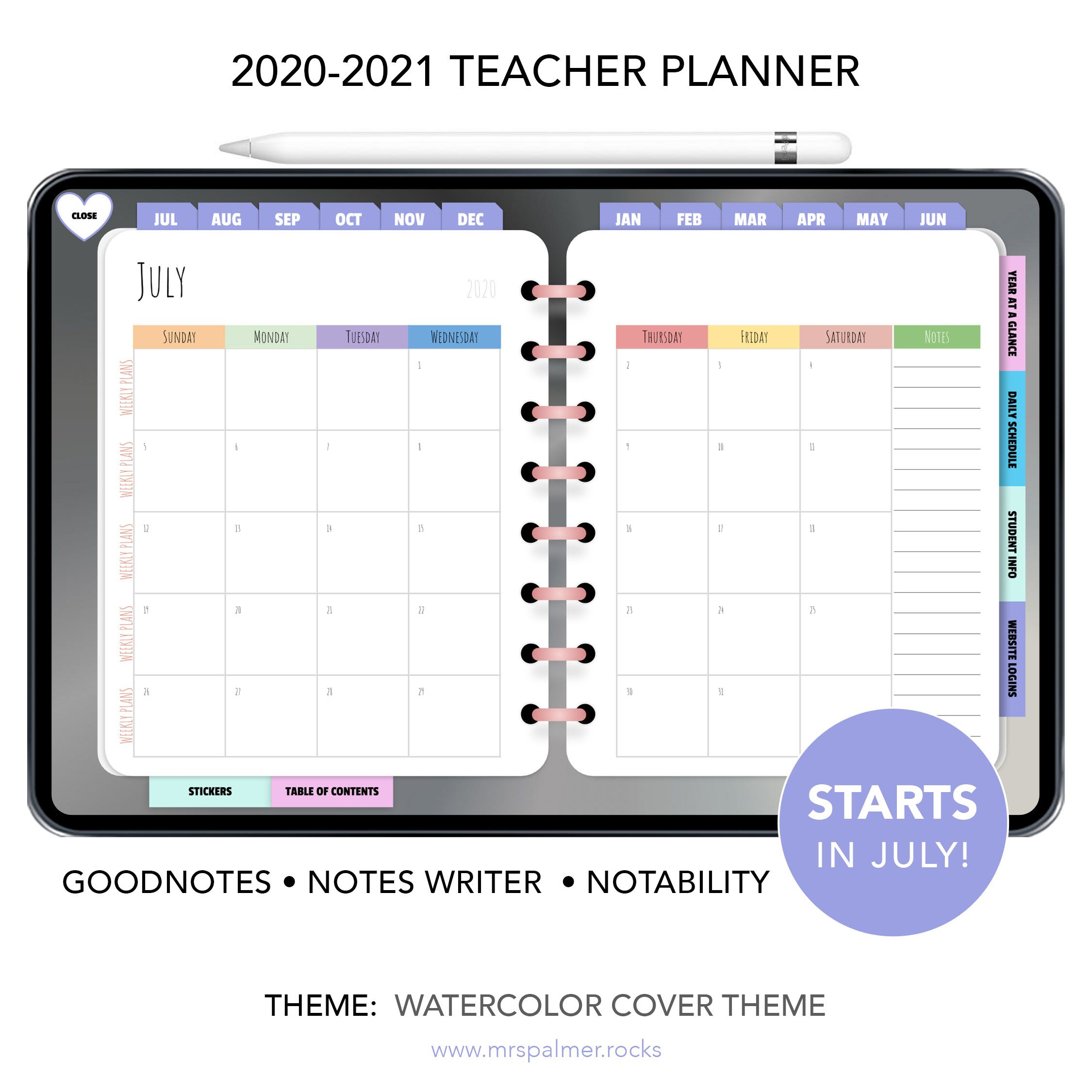 2020 / 2021 Digital Teacher Planner (Watercolor Cover