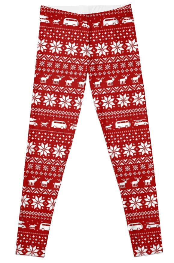537708687d76f8 Red and White Christmas Sweater Pattern with Reindeer and Cars Legging