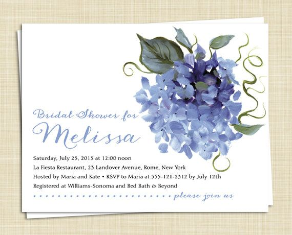Hydrangea Bridal Shower Invitations Set Of 10 5 Colors