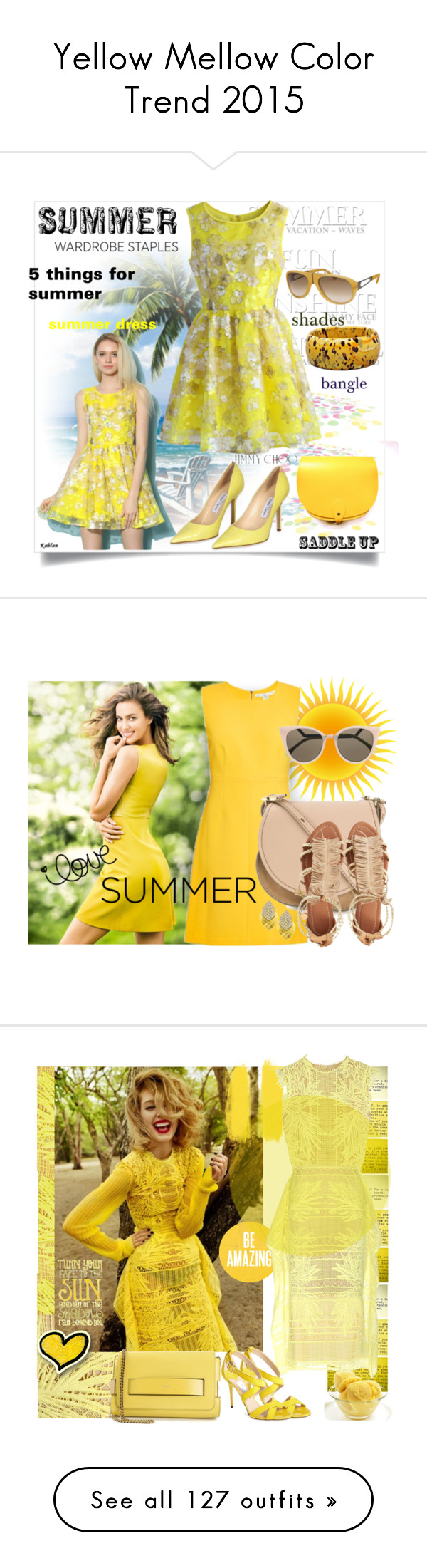 """""""Yellow Mellow Color Trend 2015"""" by yours-styling-best-friend ❤ liked on Polyvore"""