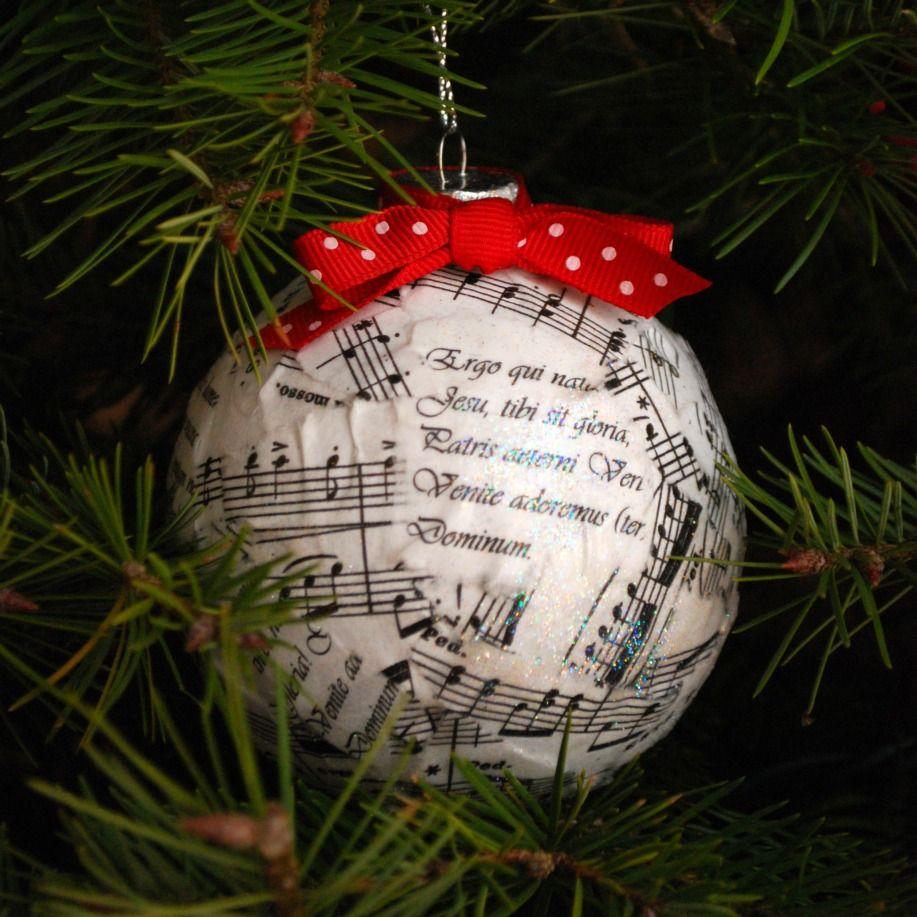 Sheet Music Ornament Tutorial Amy Latta Creations Sheet Music Ornaments Music Ornaments Christmas Ornaments