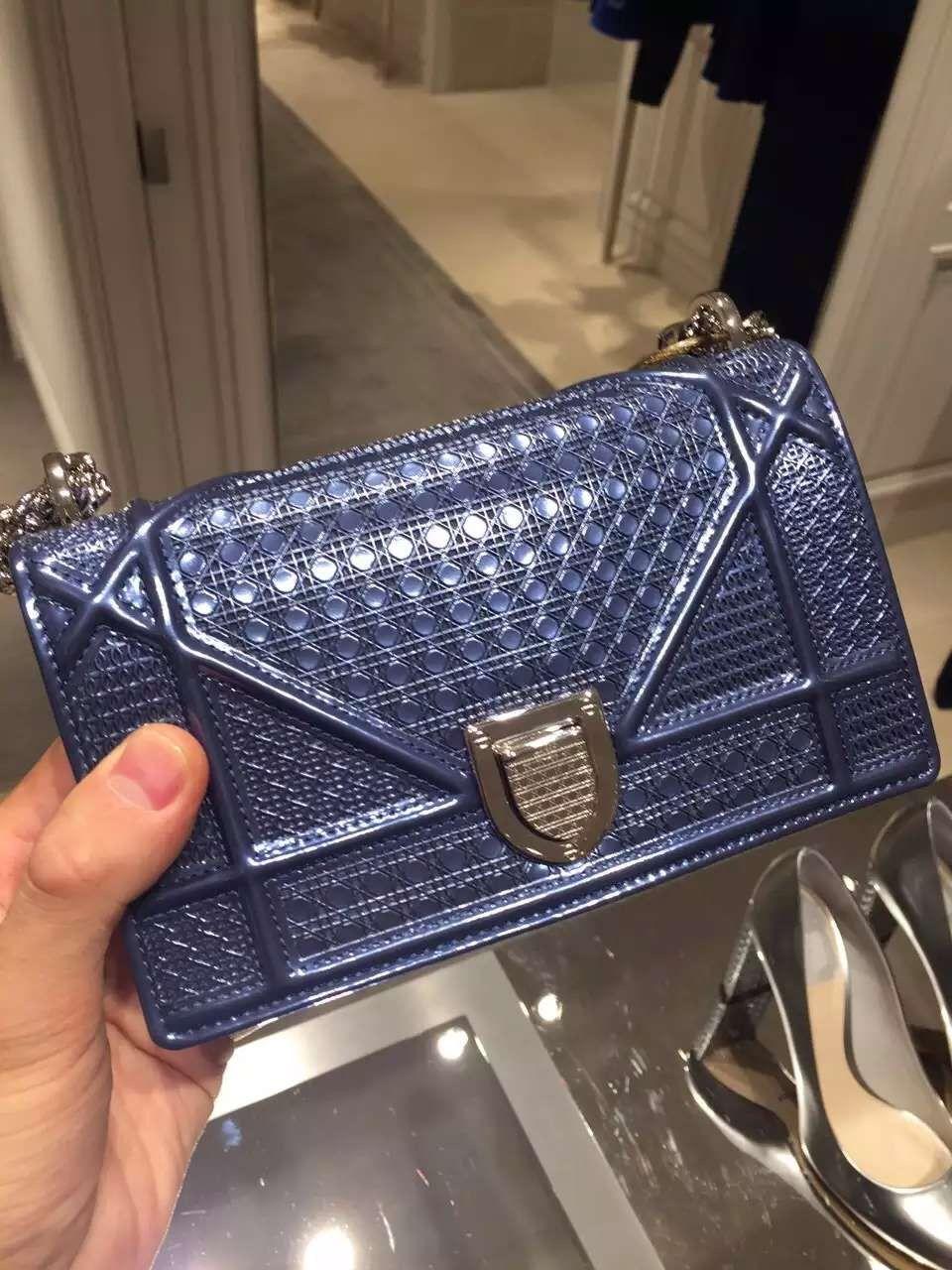 e4da3c14d47a  Christian  Dior  Diorama  Shoulder  Bag  Handbags  Diorama  Perforated  Calfskin Mini Bag Blue