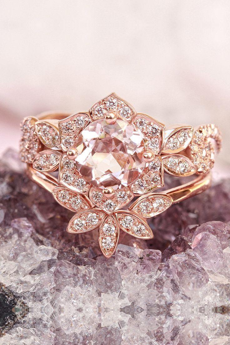Morganite and Diamonds, Flower Unique Engagement Ring Set ! Wedding ...