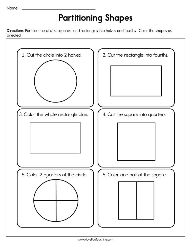 Partitioning Shapes Worksheet Have Fun Teaching In 2020 Shapes Worksheets Math Fractions Worksheets Writing Fractions