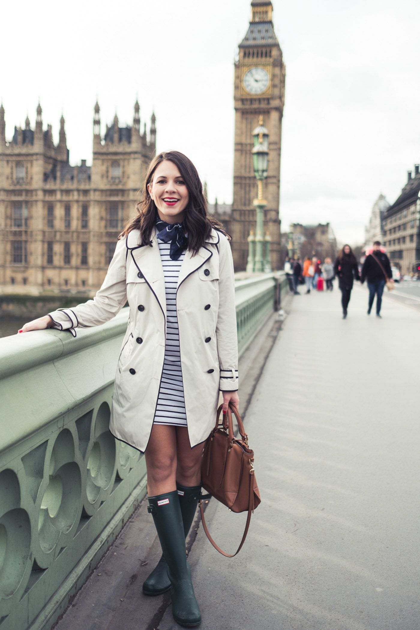 The perfect striped dress outfit for spring showers. Paired with Hunter  boots and a trench, this is a classic look for a London adventure.