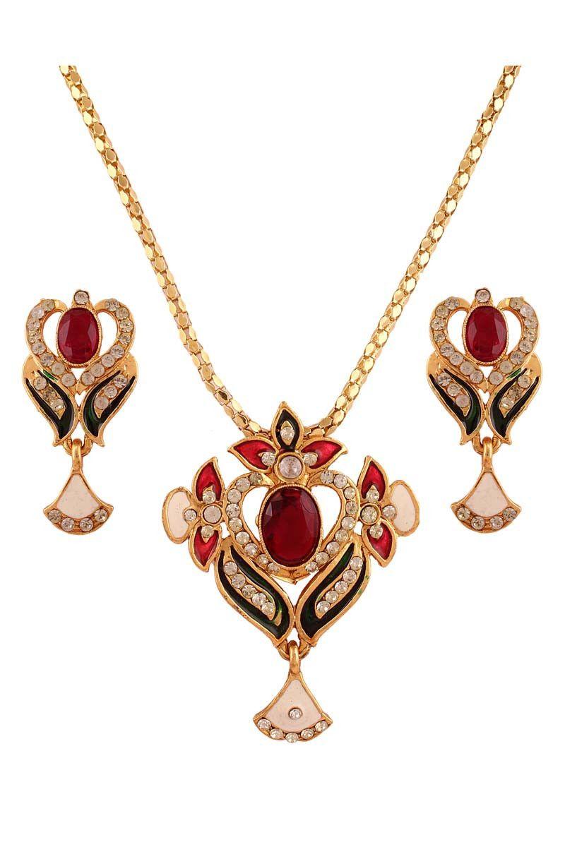 Multi gold plated austrian diamond pendant set jewellery on