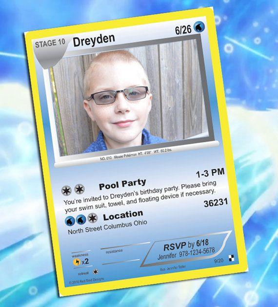 pokemon-einladung pokemon personalisierte karte von redsleddesigns, Einladungen