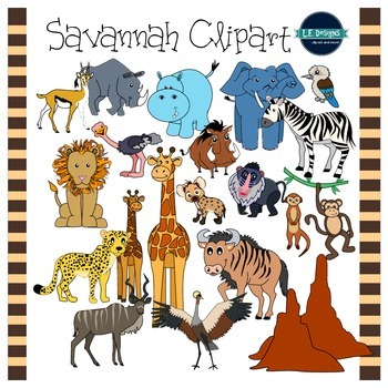 This 42 Piece Set Is Packed With Savannah And Grassland Clipart Included Are 21 Colored Images And 21 Black And White N Clip Art Savannah Chat Animal Clipart