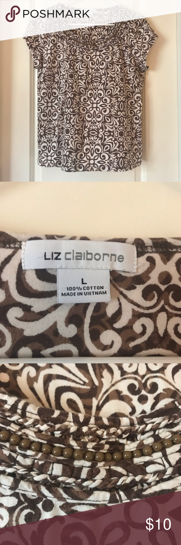 4a72d396ee3b6 Liz Claiborne Brown Cream Floral Design Top Great casual shirt to wear out  and about