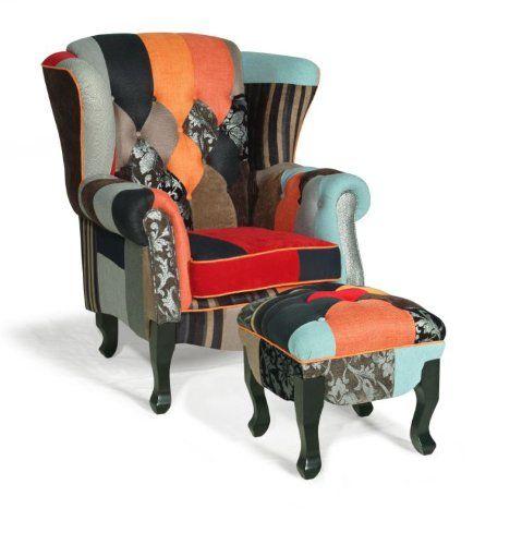 patchwork sessel mit hocker williamflooring. Black Bedroom Furniture Sets. Home Design Ideas