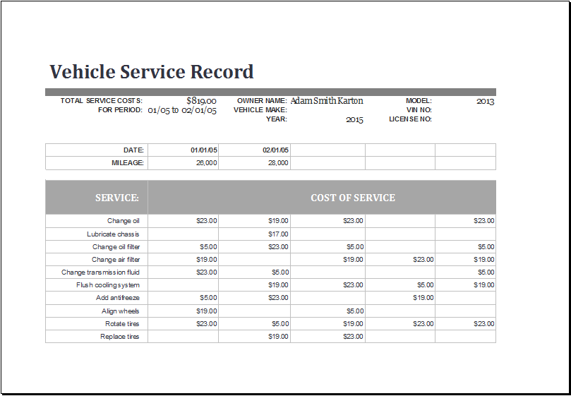 Vehicle Service Record Log Template At WwwXltemplatesOrg
