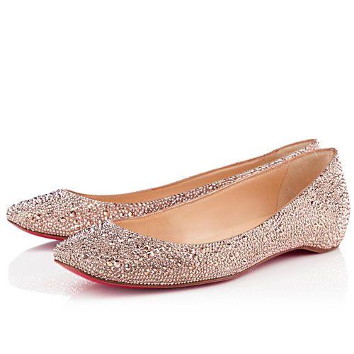nude christian louboutin gozul strass ballerinas flat zapatos rh pinterest com