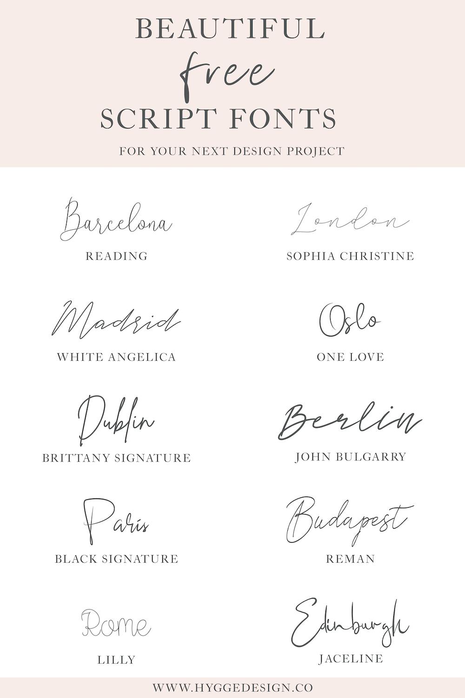 10 Beautiful Free Script Fonts Free script fonts, Script