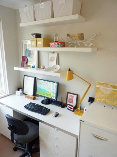 Floating Shelves Over The Desk Shelves Above Desk Home Office Design Contemporary Home Office