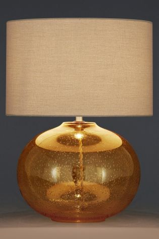 Ochre Bubble Glass Table Lamp With Fabric Shade From Next Next