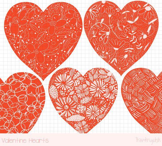 Red Valentine Heart Clipart Hand Drawn Heart Clip Art Valentine