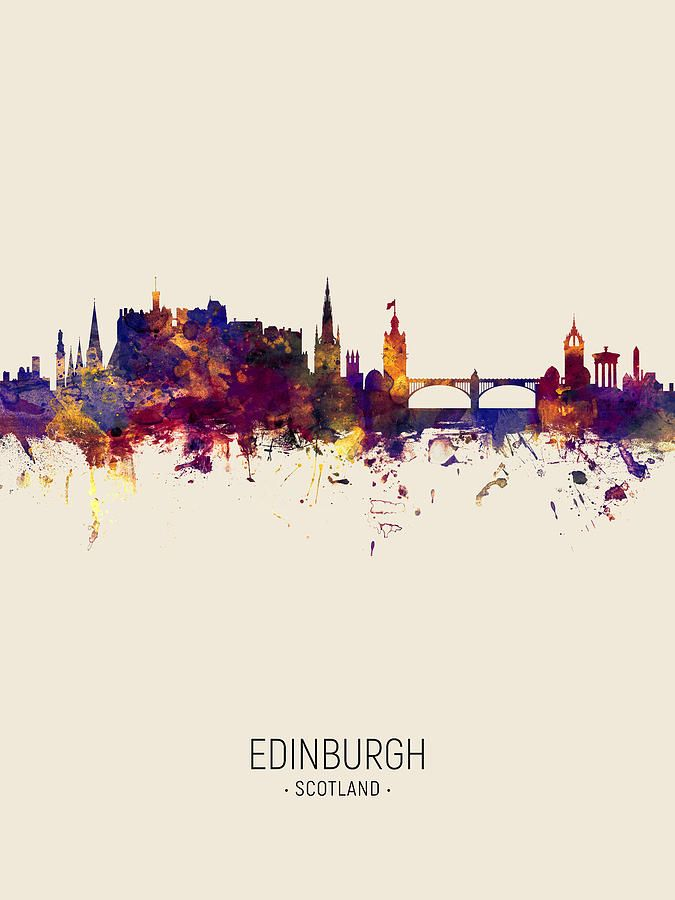Digital Art - Edinburgh Scotland Skyline by Michael Tompsett #affiliate , #ad, #spon, #Edinburgh, #Scotland, #Tompsett, #Art