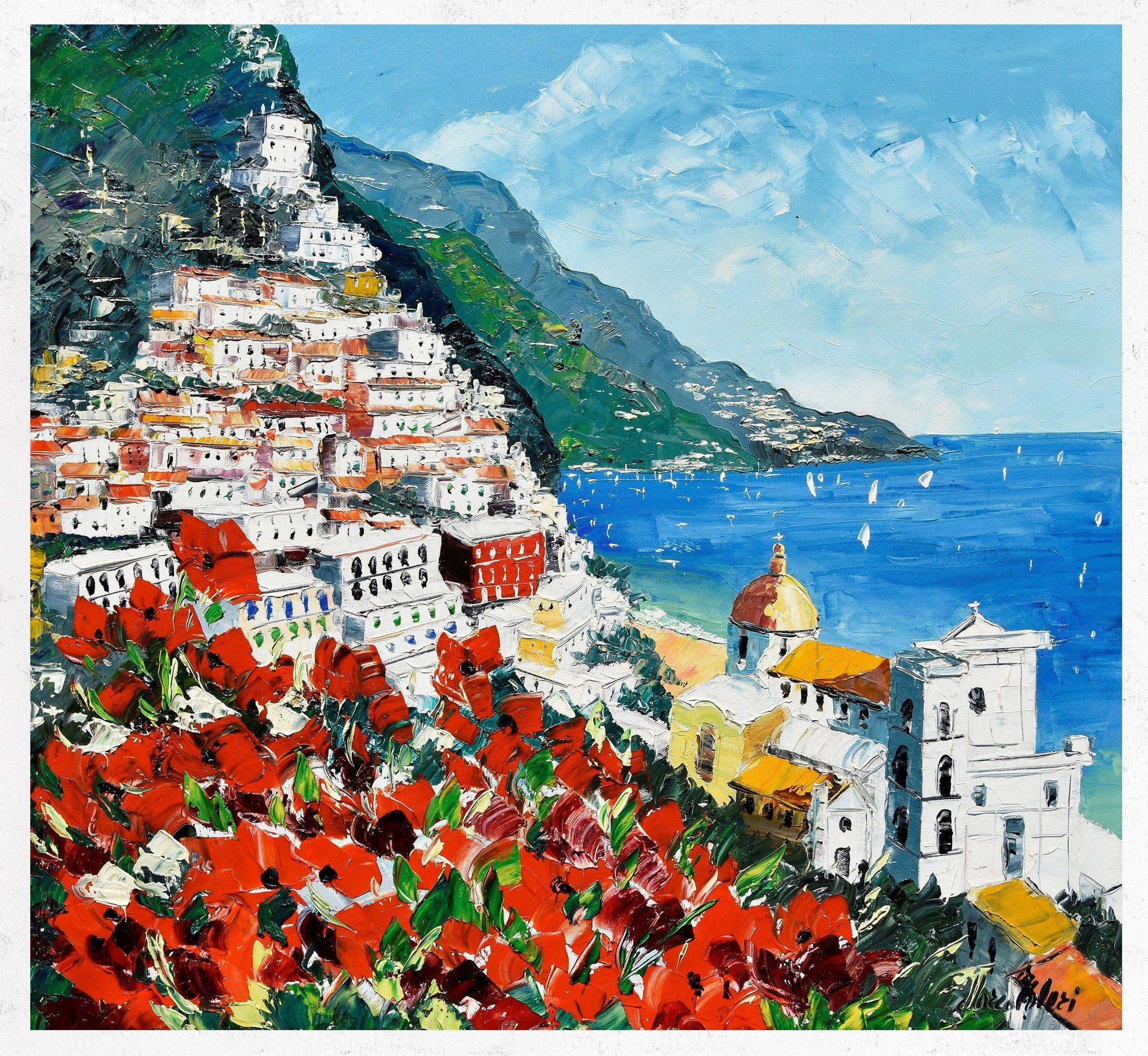 Pittura Positano pittura su tela decorazione murale regalo ...