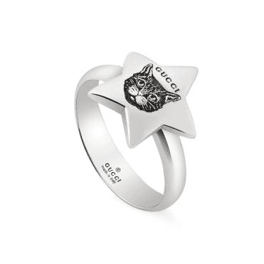 22faa8e24e8188 Gucci Blind For Love Sterling Silver Aureco Black Star Ring