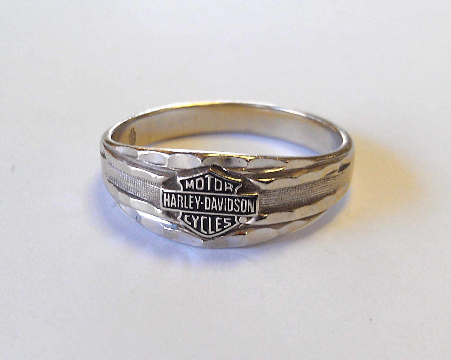 Harley Davidson Ring 10k White Gold Harley Davidson Wedding