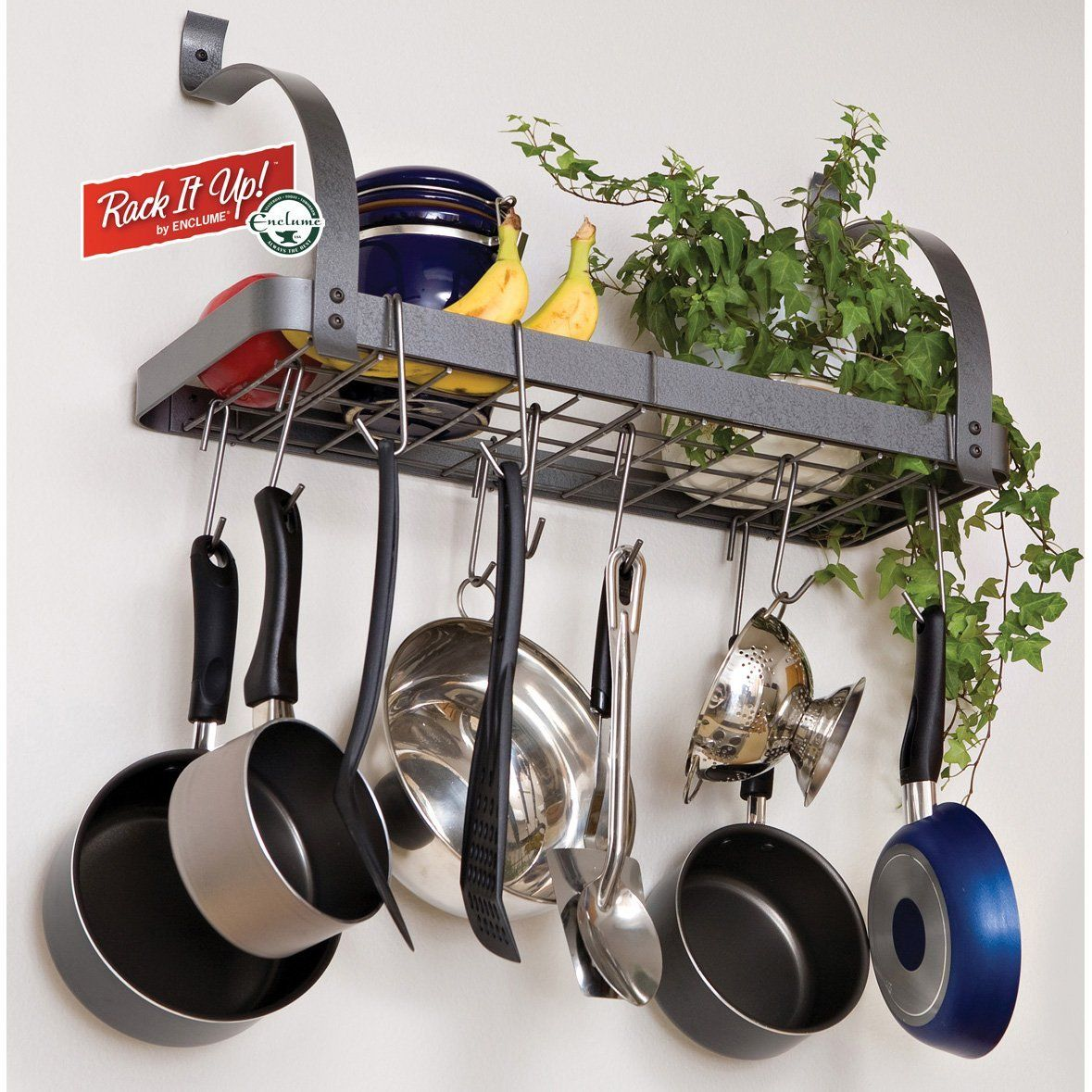 Enclume rack it up bookshelf wall rack for Pot racks for kitchen