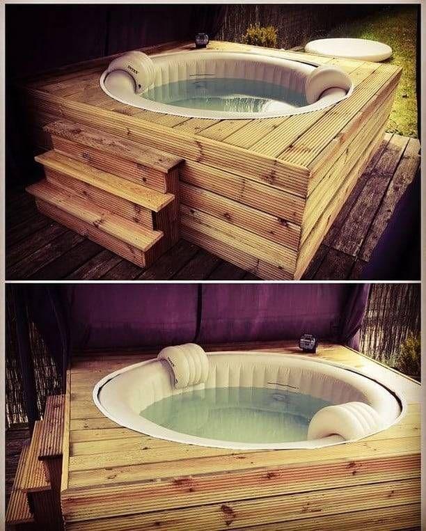 Whirlpool in the garden garden whirlpool Hot tub deck