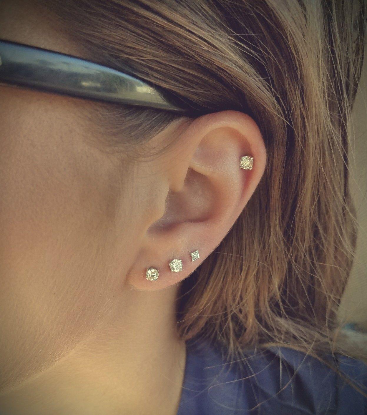Ear Piercings 3 Lobe 1 Helix 3 Lobe Piercings Helix