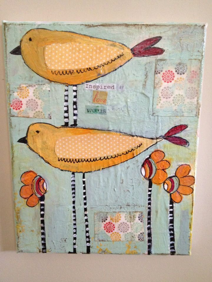 Whimsical Bird Art 11 x 14 mixed media original  not shown in mosaic but great inspiration for it