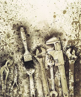 Jim Dine, tools. This is my favorite drawing from Jim Dine because ...