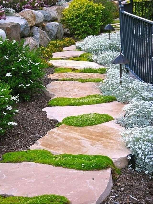 garten ideen gestaltung design wirkung, natursteinplatten für gartenwege-geschwungen-blühende, Design ideen