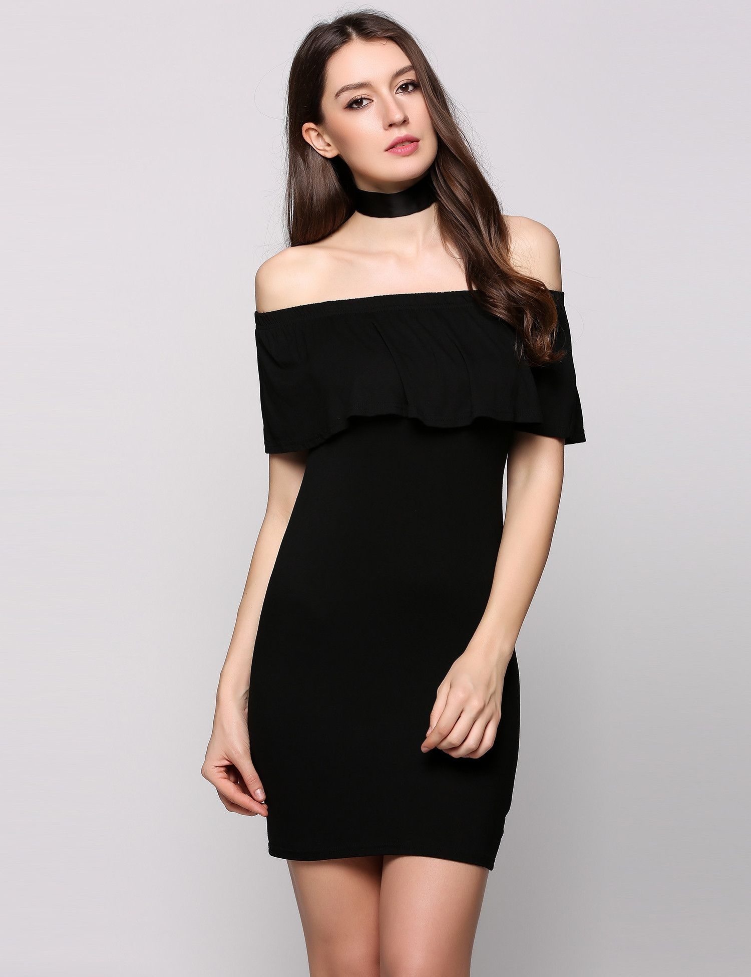 e828c78bb103 Black Sleeveless Ruffles Off The Shoulder Bodycon Solid Going Out Dress