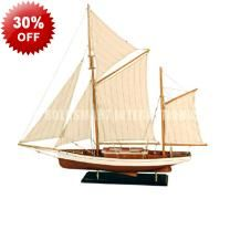 Handcrafted Huge 88cm Model Boat Ship - Twin Mast - Rudder - Display Stand