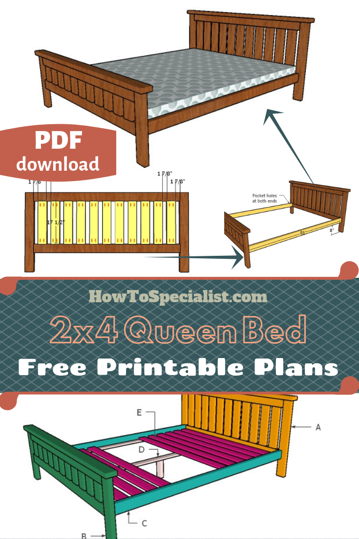 2x4 Queen Size Bed Plans Howtospecialist How To Build Step By Step Diy Plans How To Make Bed Queen Size Bed Frame Diy Queen Bed Frame Diy