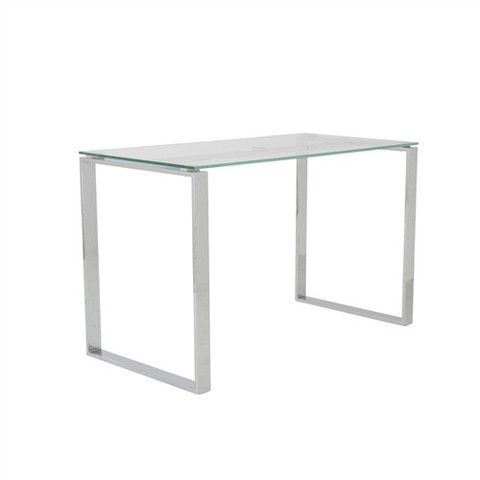 Clear Glass Chrome 48 Modern Executive Office Desk Glass Desk