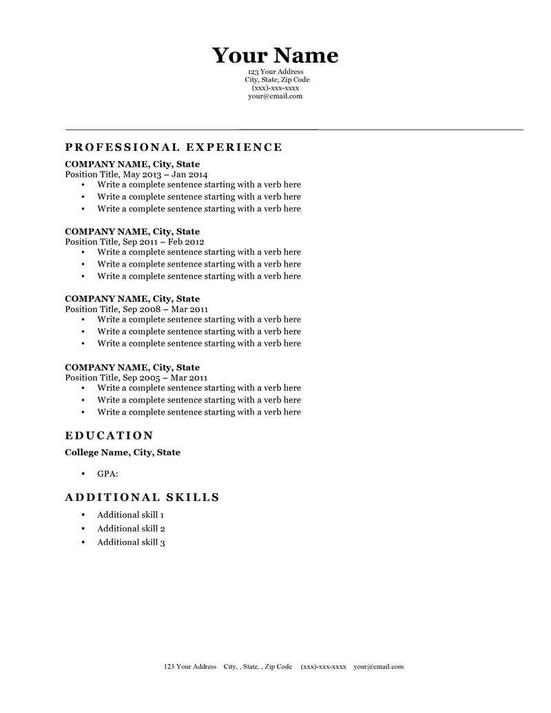 Classic Original B&w Downloadable Free Resume Template