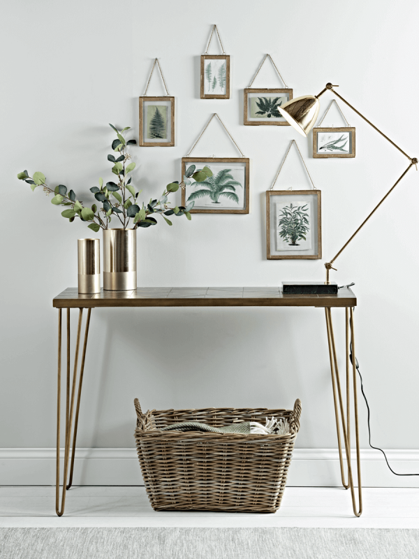 NEW Brass Hairpin Leg Console Table