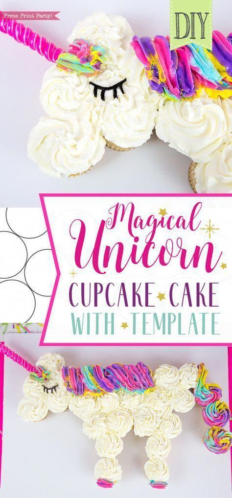 Photo of Unicorn cupcake cake DIY – Press Print Party! Easy birthday unicorn cake ideas, …