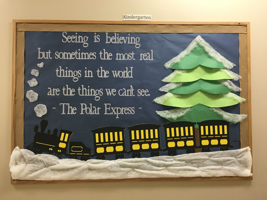 polar express bulletin board December 2015 :) #decemberbulletinboards