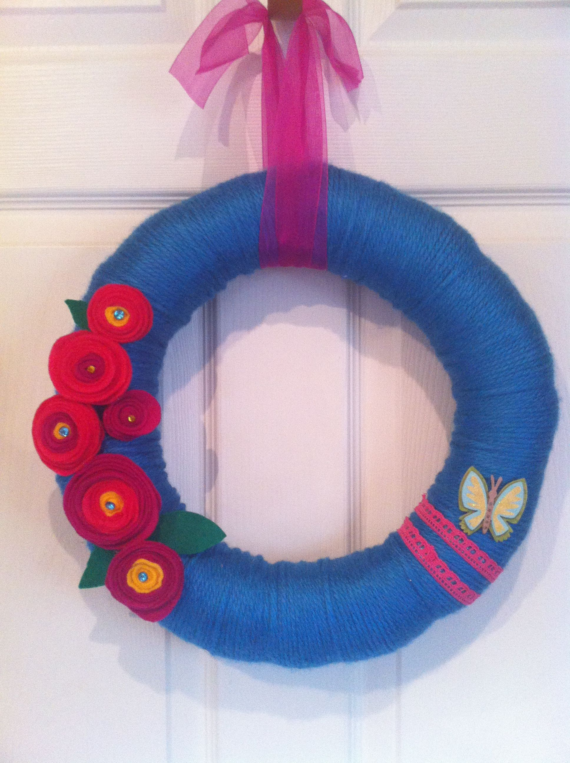 Turquoise and pink wreath